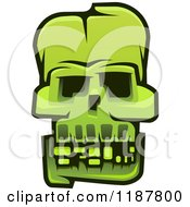 Clipart Of A Green Monster Skull Royalty Free Vector Illustration by Vector Tradition SM