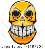 Clipart Of An Orange Grinning Monster Skull Royalty Free Vector Illustration by Vector Tradition SM