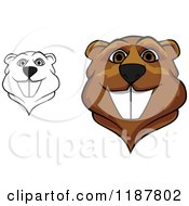 Clipart Of Happy Beaver Mascot Faces Royalty Free Vector Illustration by Vector Tradition SM