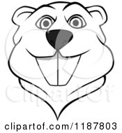 Clipart Of A Happy Black And White Beaver Mascot Face Royalty Free Vector Illustration by Vector Tradition SM