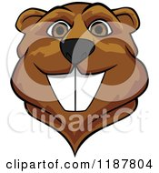 Clipart Of A Happy Brown Beaver Mascot Face Royalty Free Vector Illustration by Vector Tradition SM