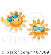 Clipart Of Smiling Summer Suns With Shades Royalty Free Vector Illustration