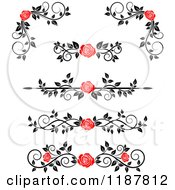 Clipart Of Red Rose And Black And White Foliage Border Page Rules Royalty Free Vector Illustration