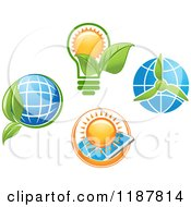 Clipart Of A Solar Panel Globe And Green Leaf Royalty Free Vector Illustration