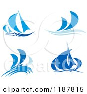 Clipart Of Blue Abstract Sailboats And Waves Royalty Free Vector Illustration