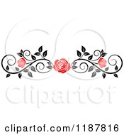 Clipart Of A Red Rose And Black And White Foliage Border Page Rule 4 Royalty Free Vector Illustration