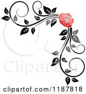 Clipart Of A Red Rose And Black And White Foliage Corner Border 2 Royalty Free Vector Illustration