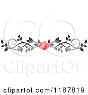 Clipart Of A Red Rose And Black And White Foliage Border Page Rule 3 Royalty Free Vector Illustration by Vector Tradition SM