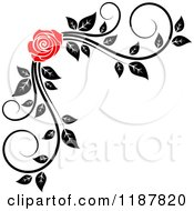 Clipart Of A Red Rose And Black And White Foliage Corner Border Royalty Free Vector Illustration