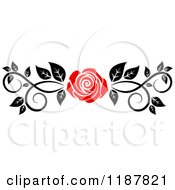 Clipart Of A Red Rose And Black And White Foliage Border Page Rule Royalty Free Vector Illustration