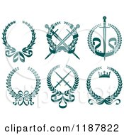 Clipart Of Heraldic Teal Laurel Wreaths Crowns And Swords Royalty Free Vector Illustration