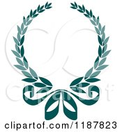 Clipart Of A Heraldic Teal Laurel Wreath And Bow Royalty Free Vector Illustration