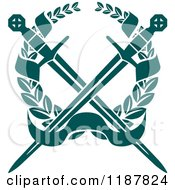 Clipart Of A Heraldic Teal Laurel Wreath Crowssed Swords And Banner Royalty Free Vector Illustration
