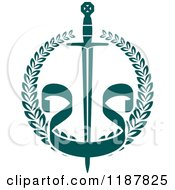 Clipart Of A Heraldic Teal Laurel Wreath With A Sword And Banner Royalty Free Vector Illustration