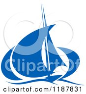 Clipart Of A Blue Abstract Sailboat 2 Royalty Free Vector Illustration