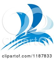 Clipart Of Blue Abstract Sailboats 2 Royalty Free Vector Illustration