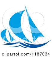 Clipart Of Blue Abstract Sailboats Royalty Free Vector Illustration