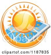 Clipart Of A Sun Ring Around A Solar Panel Royalty Free Vector Illustration