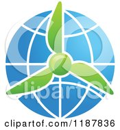 Clipart Of A Green Wind Turbine Over A Solar Panel Globe Royalty Free Vector Illustration by Seamartini Graphics