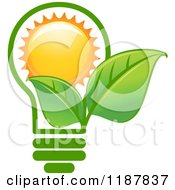 Clipart Of A Green Leaf Lightbulb With A Sun Royalty Free Vector Illustration
