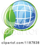 Clipart Of A Solar Panel Globe And Green Leaf Royalty Free Vector Illustration by Vector Tradition SM