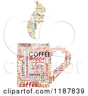 Clipart Of A Word Collage Of Coffee Terms In The Shape Of A Mug With Steam Royalty Free Vector Illustration by Vector Tradition SM