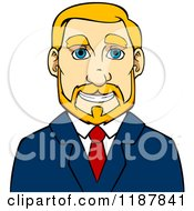 Clipart Of A Smiling Blond Businessman Avatar Royalty Free Vector Illustration