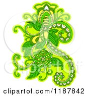 Clipart Of A Green Floral Design Element Royalty Free Vector Illustration by Vector Tradition SM