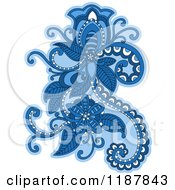Clipart Of A Blue Floral Design Element Royalty Free Vector Illustration