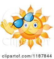 Clipart Of A Smiling Summer Sun Lifting Shades Royalty Free Vector Illustration