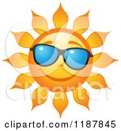 Clipart Of A Smiling Summer Sun With Shades Royalty Free Vector Illustration