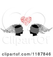 Clipart Of Silhouetted Couple Heads Under A Heart Of Music Notes Royalty Free Vector Illustration