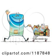 Clipart Of A Waving Credit Card Mascot Pushing A Grocery Shopping Cart Royalty Free Vector Illustration