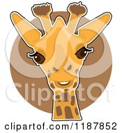 Cartoon Of A Cute Happy Giraffe Head Over A Brown Circle Royalty Free Vector Clipart by Maria Bell