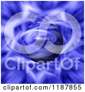 Clipart Of A Sphere Emerging From A Blue Flame Fractal Royalty Free CGI Illustration