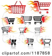 Clipart Of Flaming Shoping Cart And Basket Icons Royalty Free Vector Illustration
