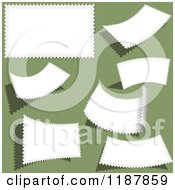 Clipart Of Blank White Stamps On Green Royalty Free Vector Illustration by dero
