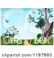 Clipart Of A Path With Spring Flowers And Butterflies Royalty Free Vector Illustration