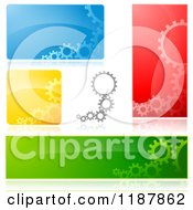 Clipart Of Gears And Reflections On Colorful Backgrounds Design Elements Royalty Free Vector Illustration