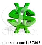 3d Green Dollar Symbol And Shadow On White