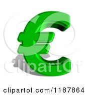 3d Green Euro Symbol And Shadow On White