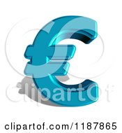3d Blue Euro Symbol And Shadow On White