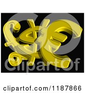 3d Golden Euro Dollar And Lira Currency Symbols On Black