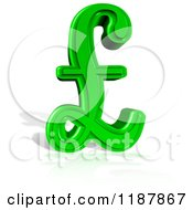 3d Green Lira Pound Symbol And Shadow On White