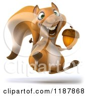 Clipart Of A 3d Happy Squirrel Jumping With An Acorn Royalty Free CGI Illustration by Julos