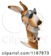 Clipart Of A 3d Aussie Kangaroo Wearing Sunglasses And Looking At A Sign Royalty Free CGI Illustration