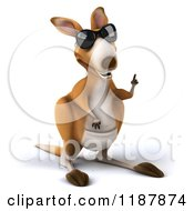 Clipart Of A 3d Aussie Kangaroo Wearing Sunglasses And Pointing Up Royalty Free CGI Illustration