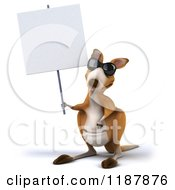 Clipart Of A 3d Aussie Kangaroo Wearing Sunglasses And Holding Up A Sign Royalty Free CGI Illustration