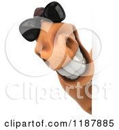Clipart Of A 3d Happy Horse Wearing Sunglasses And Smiling Around A Sign Royalty Free CGI Illustration