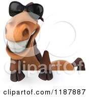 Clipart Of A 3d Happy Horse Wearing Sunglasses And Smiling Over A Sign Royalty Free CGI Illustration